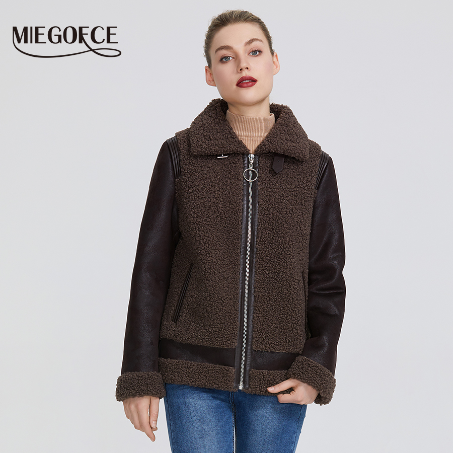 MIEGOFCE 2019 New Winter Women Collection Faux Fur Jacket Women Coat Winter Sheepskin Parka Windproof Resistant Collar With Fur