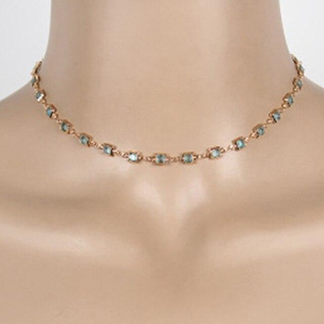 Фото модное зеленое и черное ожерелье чокер с кристаллами для женщин