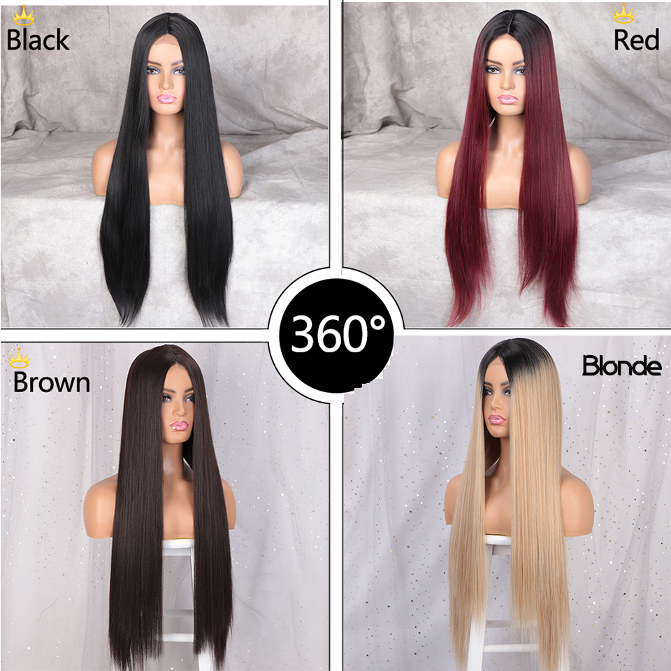 AISI BEAUTY Wigs for Women Long Straight Wigs Mid-Point Women's Wig 28inches Heat-Resistant Wigs Black/Res/Brown Natural Hair