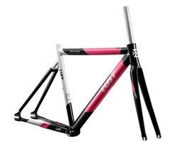 2020 sabit vites çerçevesi seti/AL6066 ekstra hafif çerçeve seti/tek hız yol bisiklet iskeleti karbon çatal bisiklet şasisi