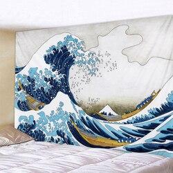 Мультфильм волна морской воды, декоративная ткань для гостиной оригинального дизайна гобеленовое украшение с мандалой индийский домашний ...