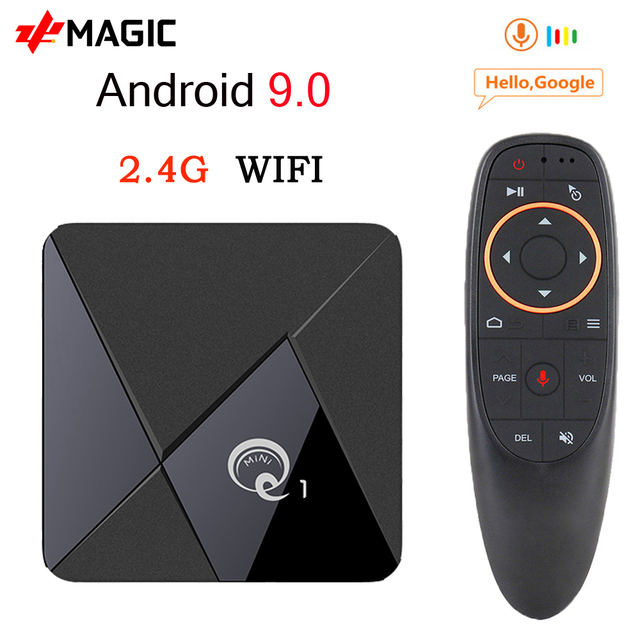 Mini TV Box Q1, Android 9,0, Mini Dispositivo de tv inteligente, Rockchip RK3328A, 2GB, 16GB, reproductor multimedia, Google Play, 2,4, WiFi, Android TV box