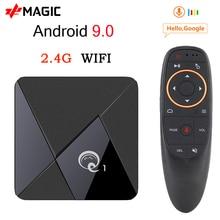 미니 Q1 안드로이드 9.0 TV 박스 Q1 미니 스마트 tv 박스 Rockchip RK3328A 2 기가 바이트 16 기가 바이트 미디어 플레이어 구글 플레이 2.4 와이파이 안드로이드 TV 박스