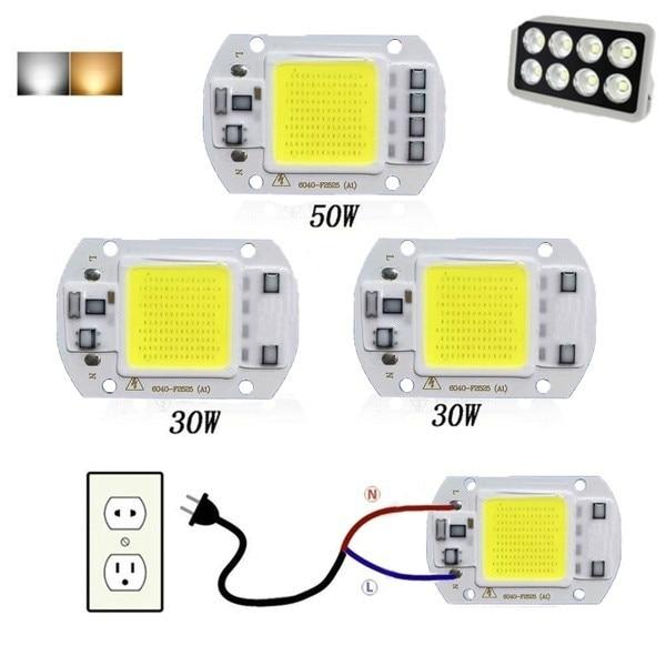 COB LED Chip 50W 30W 20W Smart IC No Need Driver LED Bulb Lamp Beads For DIY Floodlight Spotlight 110V 220V WarmWhite/Cold White