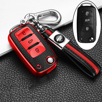 Key protector Leather+TPU Car Key Cover Case For  POLO Tiguan Passat B5 B6 B7 Golf EOS Scirocco Jetta MK6 Octavia Accessories plastic car key case for cover for vw volkswagen polo passat b5 golf 4 5 6 jetta mk6 tiguan gol crossfox eos scirocco