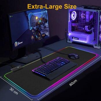 Alfombrilla de ratón para Gaming, alfombrilla grande RGB para ratón, alfombrilla XXL para ratón, alfombrilla grande para ratón, alfombrilla para PC, escritorio, alfombrilla para jugar con retroiluminación 6