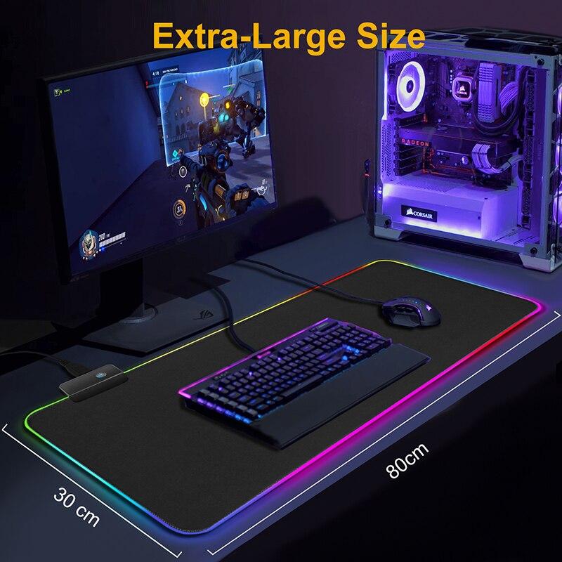 Игровой коврик для мыши с RGB-подсветкой, большой компьютерный коврик для мыши размера XXL, настольный коврик-5