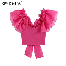 KPYTOMOA Women 2020 Fashion Organza Sleeve Knitted Cropped Blouses Vintage Back Bow Tied Ruffles Trims Female Shirts Chic Tops