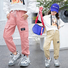 2019 Cowgirl New Arrival 4-13T Girls Cargo Pants Spring Autumn Solid Color Kids Cotton Trousers Teenage Clothing Elastic Waist Teens