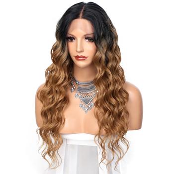 SUe wykwintna koronka przodu peruki syntetyczne blond Ombre długie faliste Mid-Point peruki syntetyczne dla kobiet naturalną linią włosów pełne peruki tanie i dobre opinie SUe EXQUISITE CHINA Średnia wielkość Jasny brąz Swiss koronki