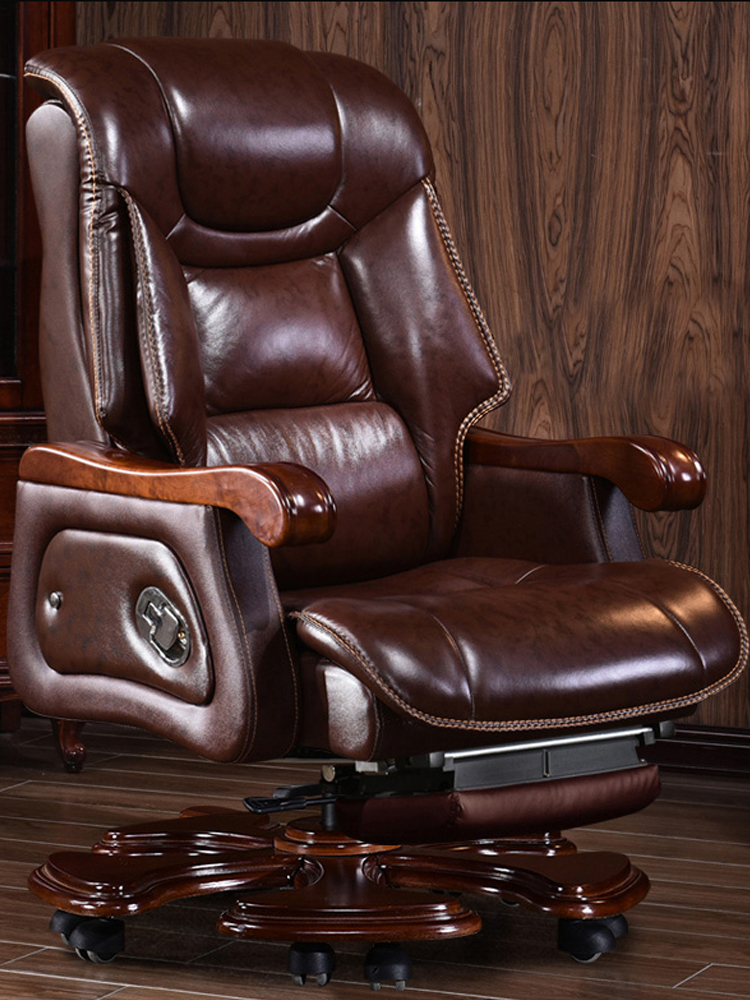 Real Leather First Class Cabin Executive Office Chair Multi-function Single Sofa Lounge Couch Swivel Massage Lay Down Footrest