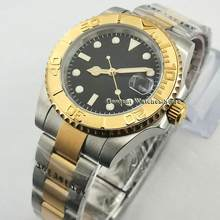 40mm Sterile 24 Jewels Japan NH35 Automatic Top Luxury Mens Watch Sapphire Glass Gold Case Bezel Wrist Watch(China)