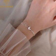 XIYANIKE 925 pulsera de plata esterlina del encanto para las mujeres nueva moda elegante mariposa Zircon pulsera parejas joyería regalos de fiesta
