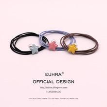 EUHRA 5 Colors Pentagram Pearl Handmade Girls Hand Knotted Women Elastic Hair Bands Kid Children Rubber High Elasticity