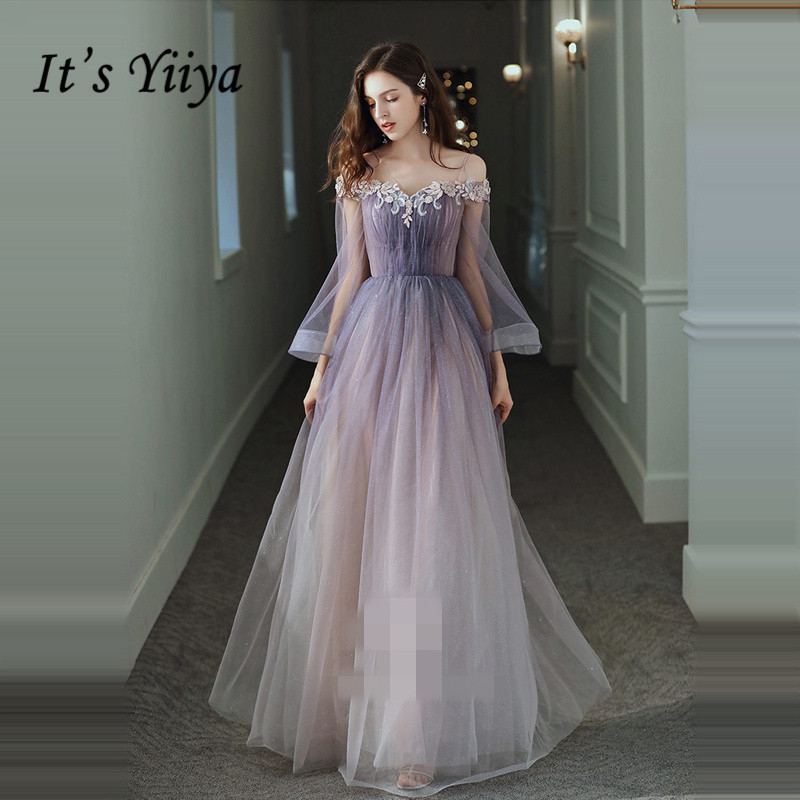 It's Yiiya Evening Dresses Purple Gradient Bling Evening Dress Elegant Boat Neck Long Party Gowns Appliques Robe De Soiree LF013