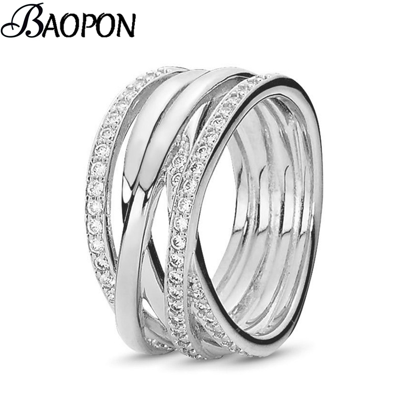 2019 Hot Sale Silver Rings Dazzling Irregular weaving Clear CZ Finger Fine Rings for Women Jewelry Gift Loves Jewelry Gift
