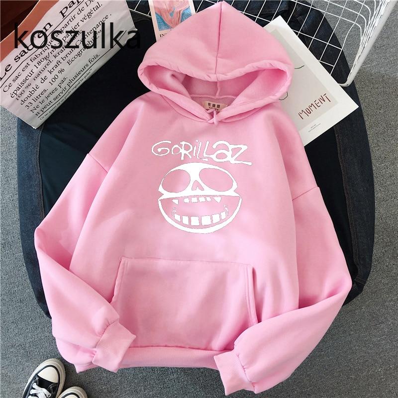 Gorillaz Skull  Funny Print Hoodie Kpop Korean Style Loose Sweatshirt Korean Fashion Hip Hop All-match Leisure Harajuku Hoodie 6