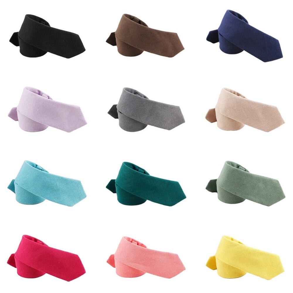 Men Classic Cotton Solid Color 6CM Skinny Neckties Wedding Party Formal Ties QNTIE0325