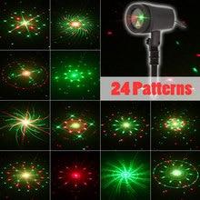 2021 Nieuwe Jaar Decoraties Kerstverlichting Outdoor Ster Fairy Douches Licht 24 Grote Patronen Dynamische Twee Kleur Laser Projector