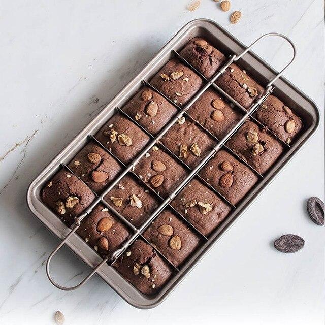 מקצועי בישול שוקולד עוגת עובש 18 חלל פחמן פלדת כיכר אפיית סריג קל ניקוי בראוני אפייה פאן