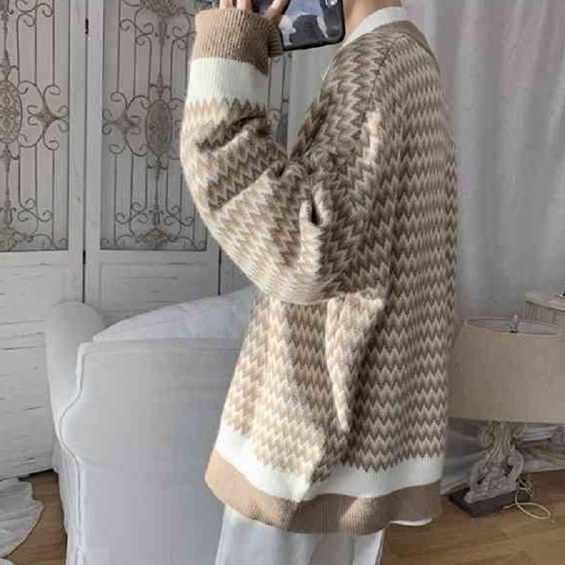 Sweater Men 2020 Autumn Korean Version Of The Trend Cardigan Hong Kong Style Loose Ins Casual Wild Student Striped Jacket Male