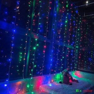 Image 3 - 3X3 متر 300 LED ستار مصابيح جارلاند الجنية جليد سلسلة في الهواء الطلق عطلة عيد الميلاد ديكور الزفاف عيد الميلاد ديكور المنزل