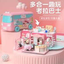 Diy dollhouse fingir brinquedo role play coala boneca mini ônibus carro villa casa móveis brinquedos educativos para crianças presente da menina