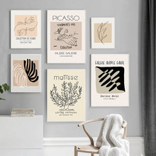 Pintura retro matisse picasso exposição poster da lona arte da parede abstracto plantas imagens neutro original sala de estar decoração casa