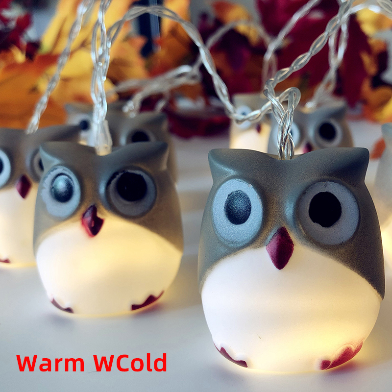 New Paragraph LED Owl String Lights Battery Thanksgiving Carnival Christmas Party Garden Halloween Party New Year 's Decoration