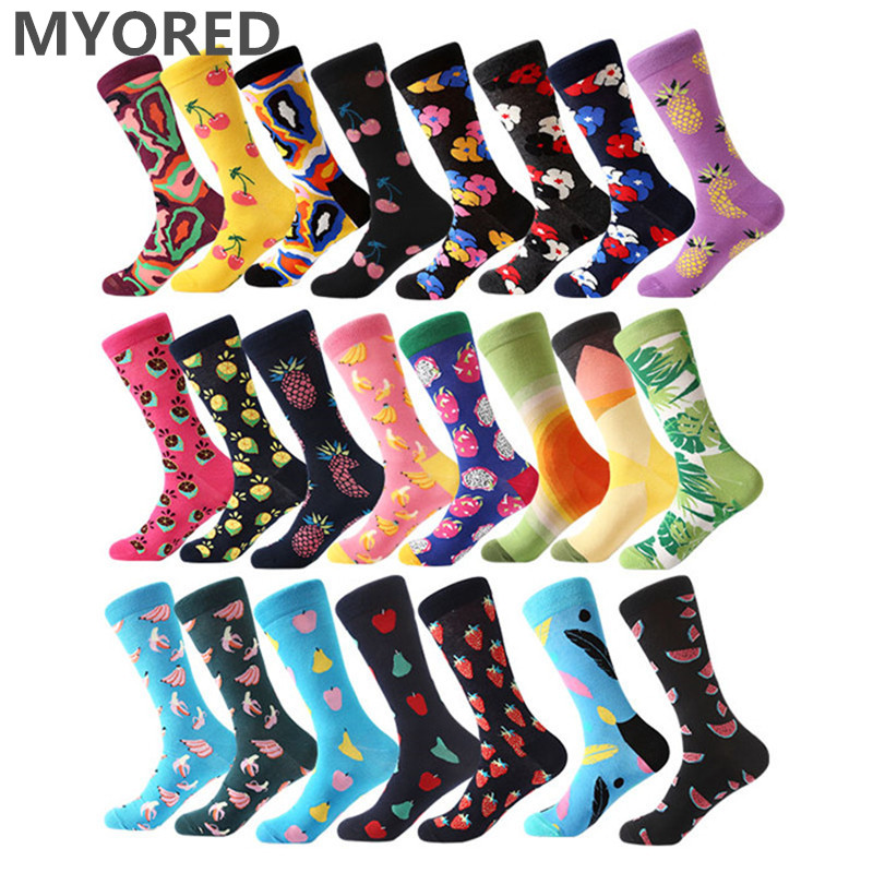 MYORED 1 Pair Combed Cotton Socks For Man Funny Sock Colorful Lips Cherry Pineapple Guitar Lemon Pitaya Banana Pear Calcetines