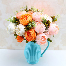 13 Pieces Quality Flower Home Decor Artificial Flowers Peony Simulation Bunch Fake Wedding Holding