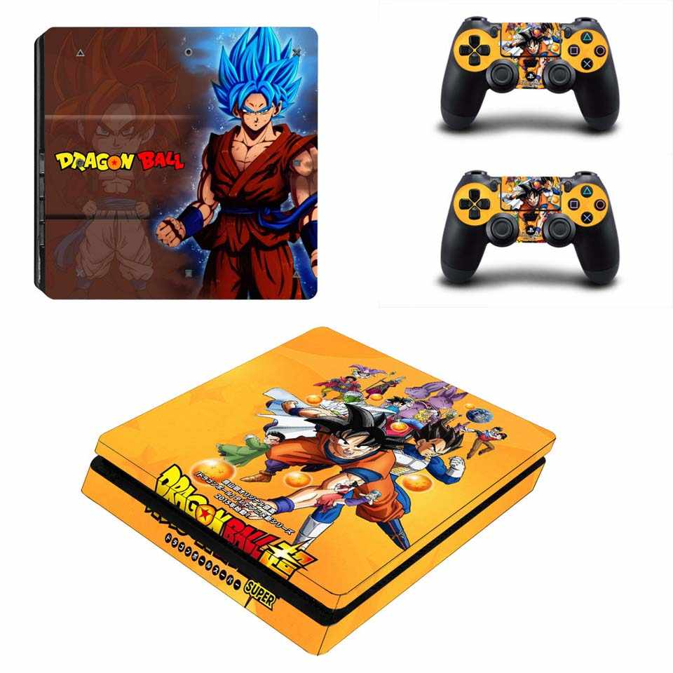Dragon Ball Sticker for PS4 Slim Vinyl Decal Skin for Playstation 4 Slim Console & Two Controller Stickers