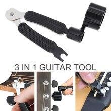 3 in 1 gitar Peg dize sarıcı + dize Pin çektirme + dize kesici gitar aracı Set çok fonksiyonlu gitar aksesuarları