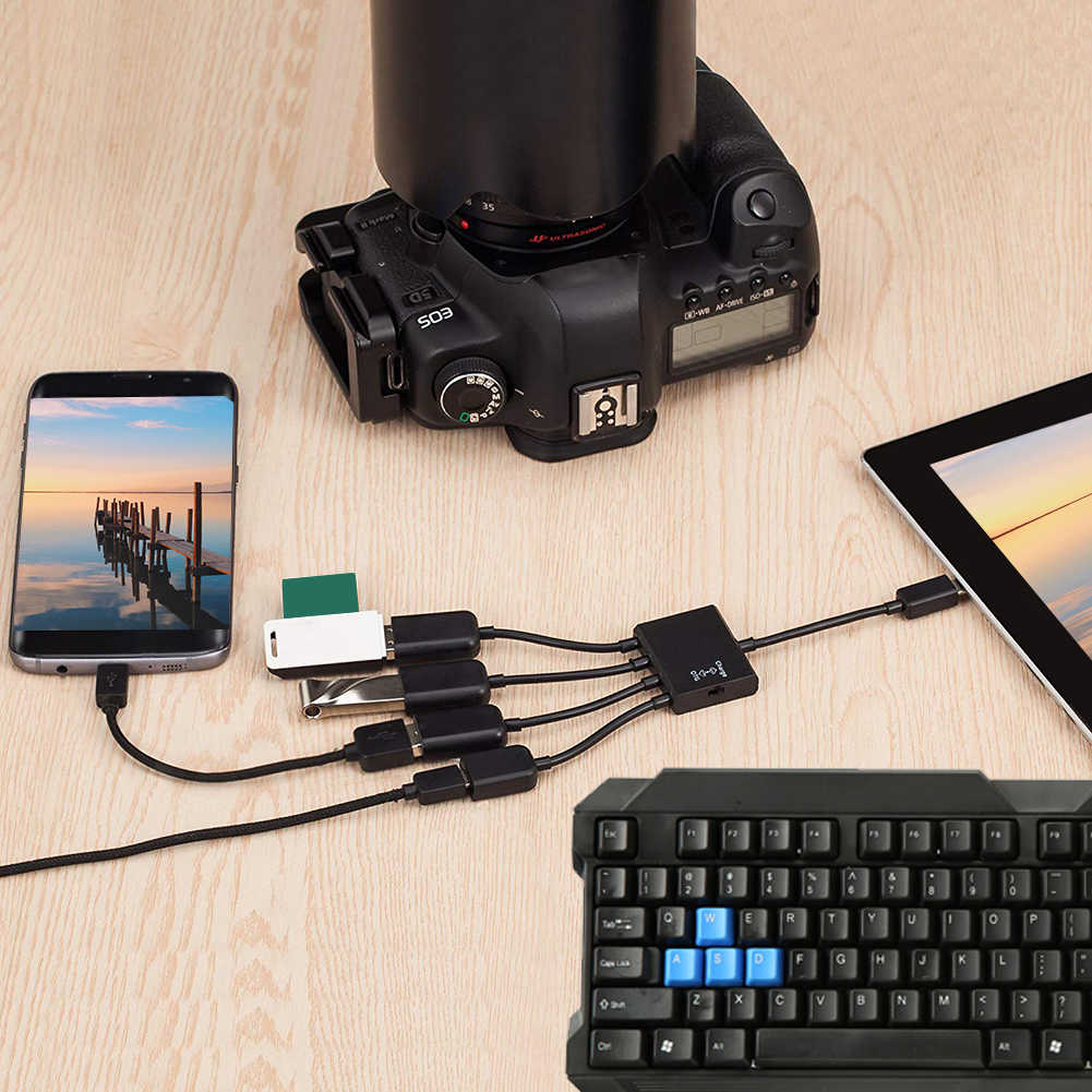 4 in 1 Micro USB HUB อะแดปเตอร์ Power Powered, ชาร์จ CHARGE ตัวเชื่อมต่อสายเคเบิล OTG HOST โทรศัพท์สมาร์ทแท็บเล็ต