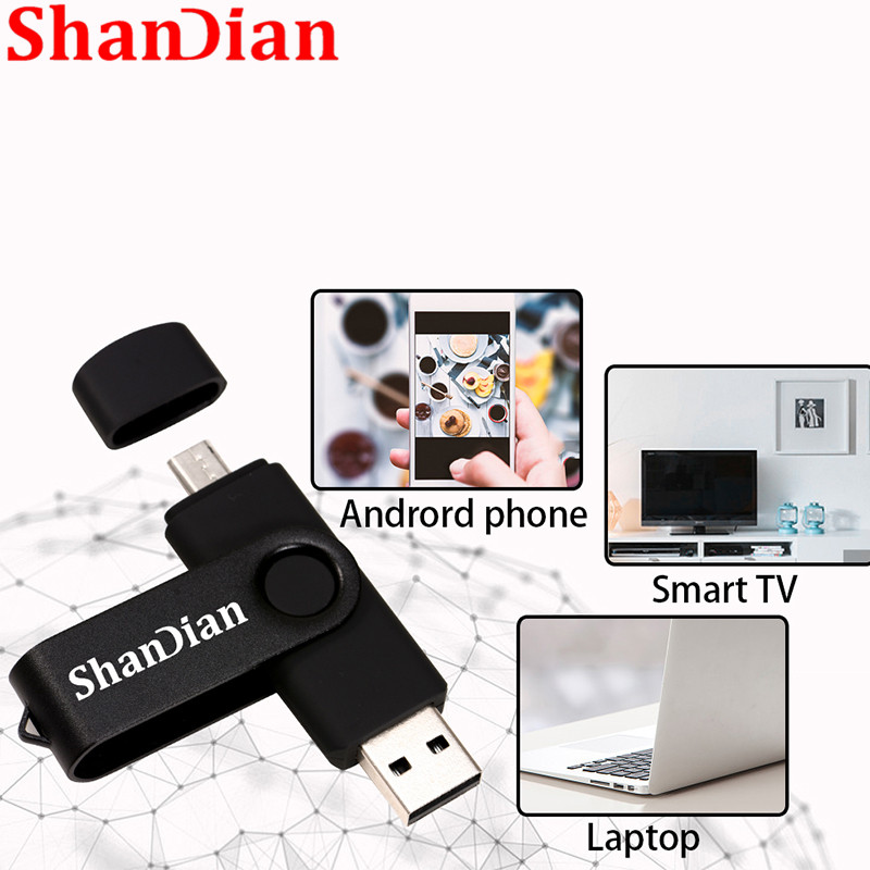 SHANDIAN High Speed USB Flash Drive OTG Pen Drive 128gb 64gb Usb Stick 32gb 256gb Pendrive Flash Disk For Android SmartPhone/PC
