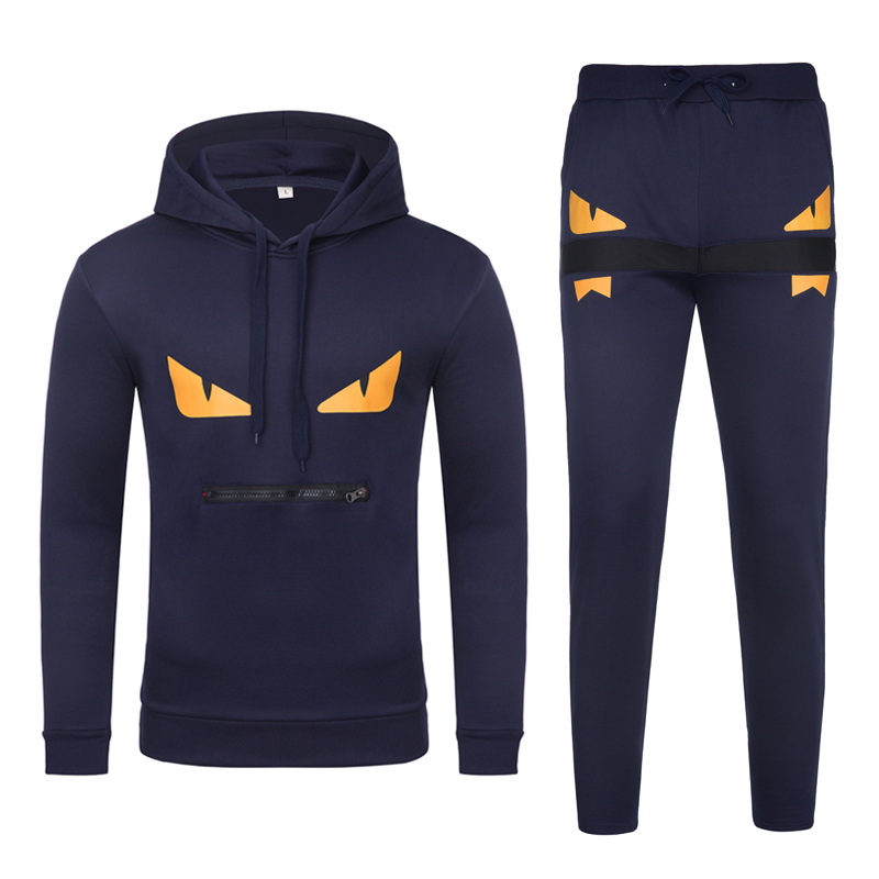 Tracksuit 2020 New Fashion Trend Two-piece Printed Zippered Pocket Hooded Casual Mens Tracksuit