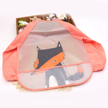 Apron Lace-Up Long-Sleeve Baby Waterproof Cute with Cartoon Pockage Daily-Supplies New
