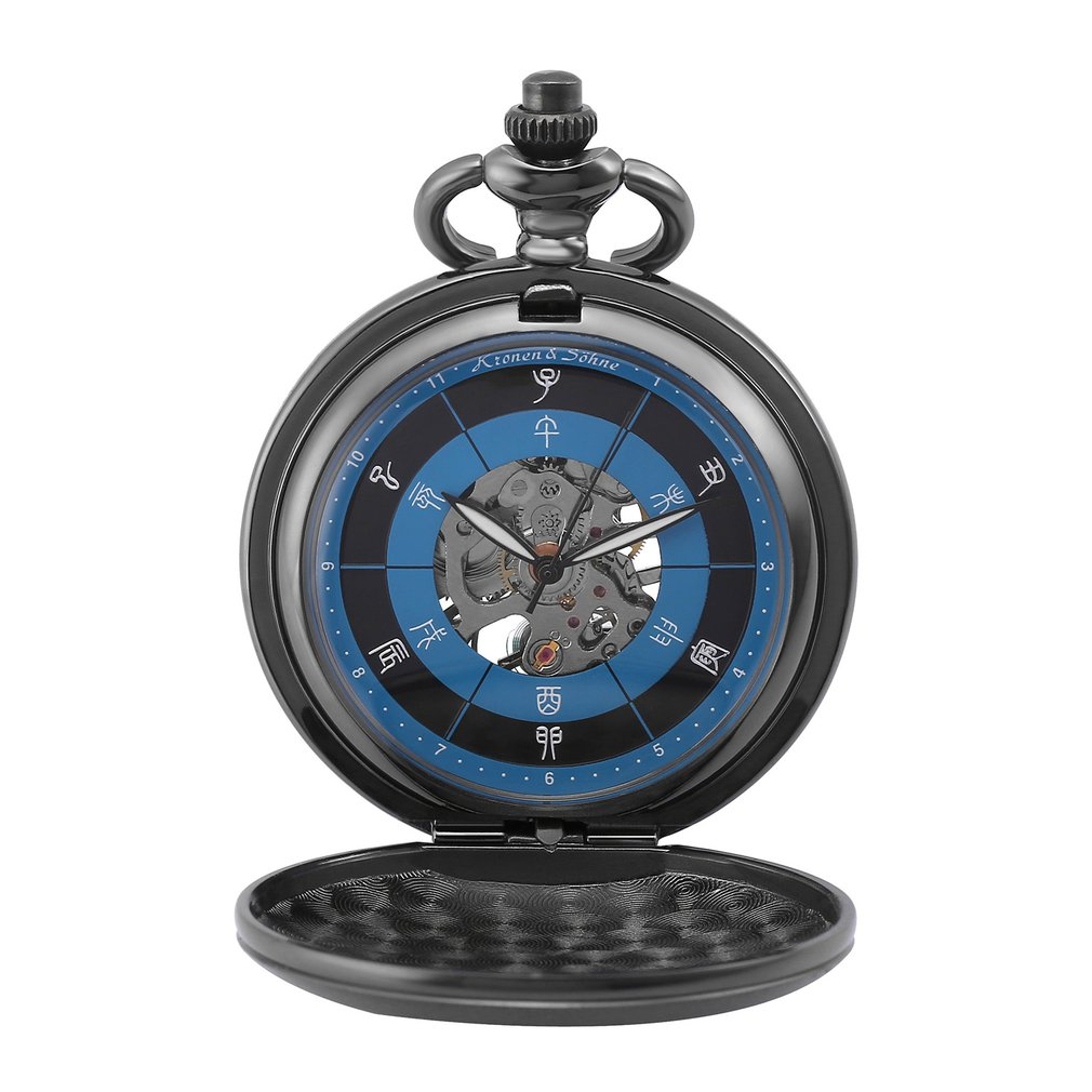 KS Ancient Chinese 12-hour Period Design Silver Case Steampunk Fobs Key Chain Hand Winding Mechanical Pocket Watches Gift/KSP086