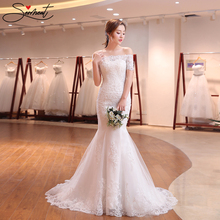 SERMENT Lace Mermaid Wedding Dress Elegant Round Neck Shawl Beaded Off The Shoulder Church Bride Pregnant Woman
