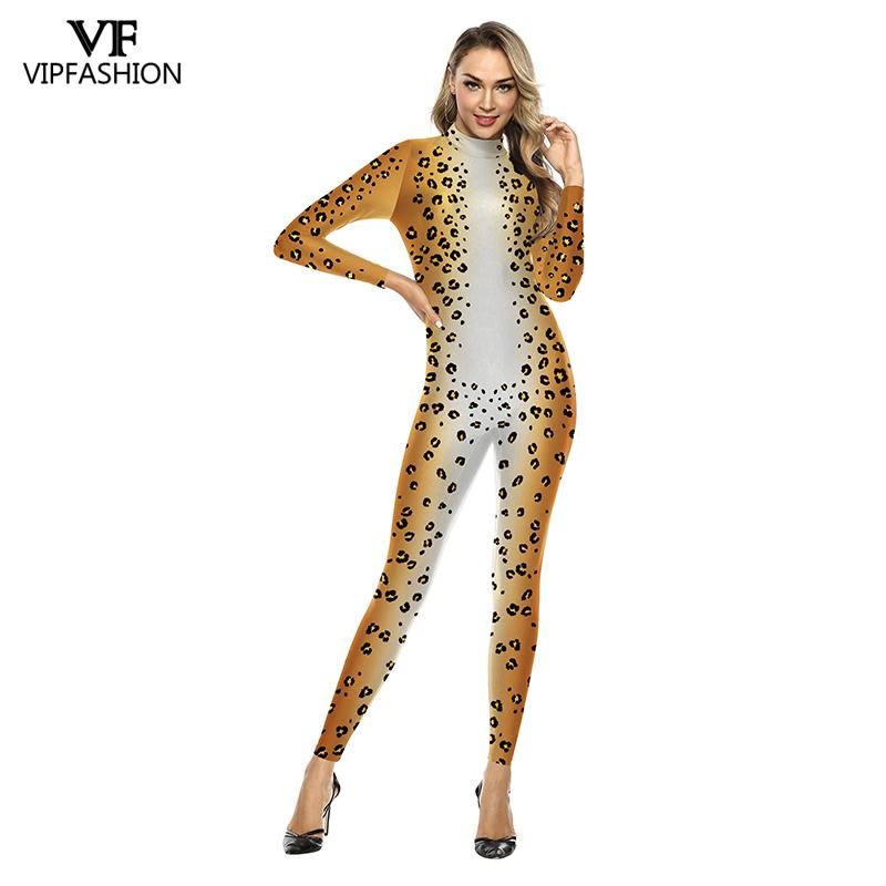 VIP FASHION 3D Animal Leopard Print Pattern Halloween Cosplay Costume For Women Purim Festival Bodysuits Jumpsuits