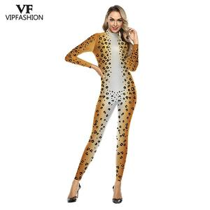Image 1 - VIP FASHION 3D Animal Leopard Print Pattern Halloween Cosplay Costume For Women Purim Festival Bodysuits Jumpsuits
