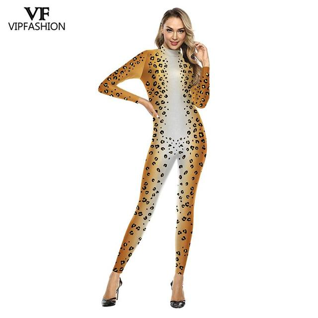 VIP FASHION 3D Animal Leopard Print Pattern Halloween Cosplay Costume For Women Purim Festival Bodysuits Jumpsuits