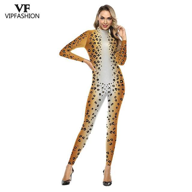 Vip moda 3d animal leopardo padrão de impressão halloween cosplay traje para as mulheres purim festival bodysuits macacões
