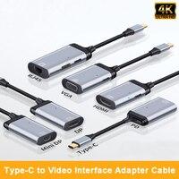 4K Type C to RJ45 Gigabit Ethernet /VGA/DP/HDMI-compatible/Mini DP Adapter For MacBook Pro Laptop HDTV 4K USB-C Adapter Cable