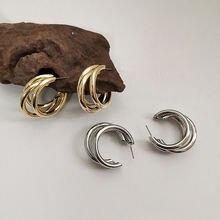 Три кольца круглые серьги для женщин Гламурные Очаровательные