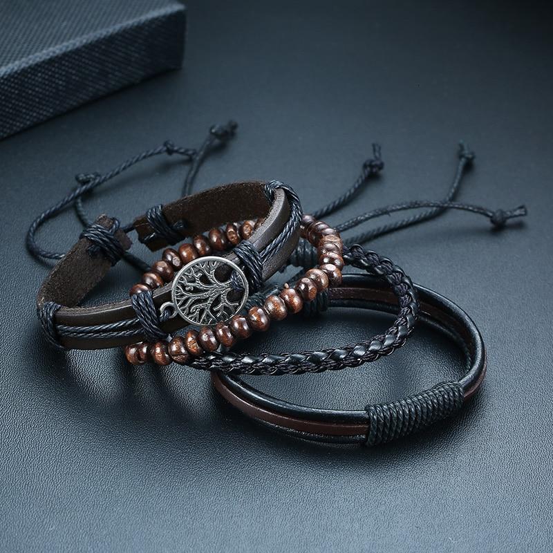 Vnox 4Pcs/ Set Braided Wrap Leather Bracelets for Men Vintage Life Tree Rudder Charm Wood Beads Ethnic Tribal Wristbands 6