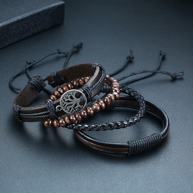 Vnox 3/4Pcs/ Set Braided Wrap Leather Bracelets for Men Vintage Life Tree Rudder Charm Wood Beads Ethnic Tribal Wristbands 6
