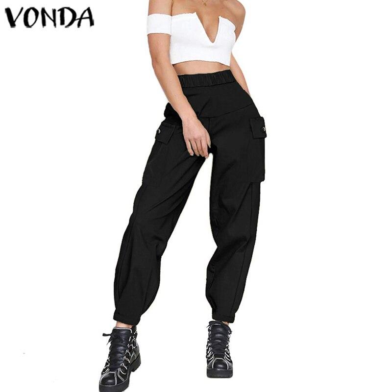 VONDA Women Pants Female Casual Loose High Waist Hot Big Pockets Pants 2020 Ladies Bottoms Vintage Baggy Trouser Plus Size