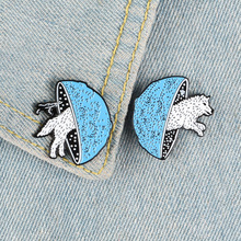 New blue and white cute mushroom snow wolf badge brooch fashion personality animal and plant children cute jewelry brooch gift цена 2017