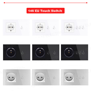 Image 4 - Light Switch Tempered Glass Touch Panel 1/2/3 Gang Modular EU Plug Socket 146 Lamp Conjoined Electric Outlets for Office Home